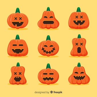 Collection de citrouille innocente plat halloween