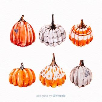 Collection de citrouilles d'halloween aquarelle
