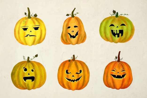 Collection de citrouilles d'halloween aquarelle