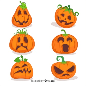 Collection de citrouilles d'halloween au design plat