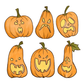 Collection de citrouilles halloween design aquarelle
