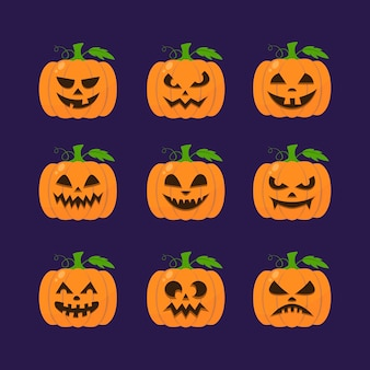 Collection de citrouilles d'halloween design plat