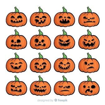 Collection de citrouilles d'halloween dessinées à la main classique