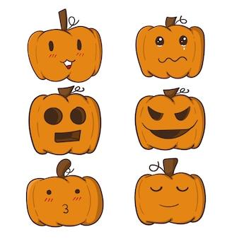 Collection de citrouilles d'halloween dessinés à la main mignonne