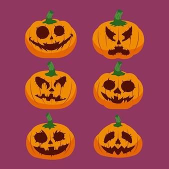 Collection de citrouilles d'halloween dessinés à la main