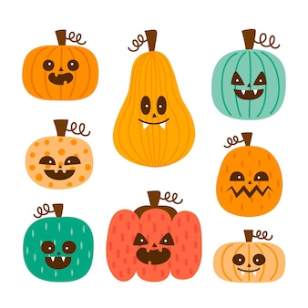 Collection de citrouilles d'halloween dessinés à la main