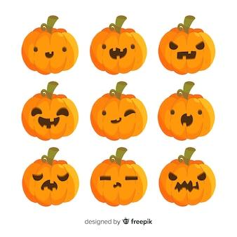 Collection de citrouilles d'halloween avec différents visages