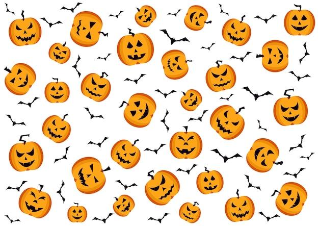 Collection de citrouilles d'halloween fait face au fond