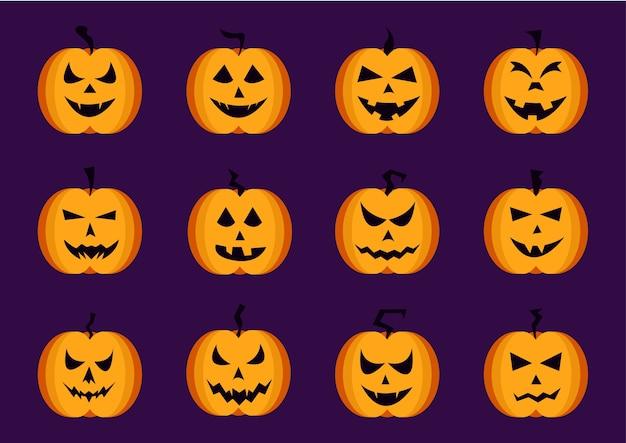 Collection de citrouilles d'halloween fait face à un ensemble d'icônes