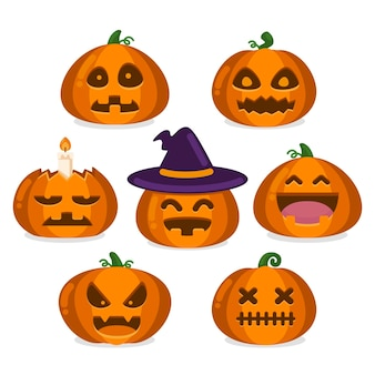 Collection de citrouilles d'halloween plat