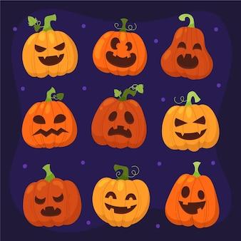 Collection de citrouilles d'halloween plates dessinées à la main