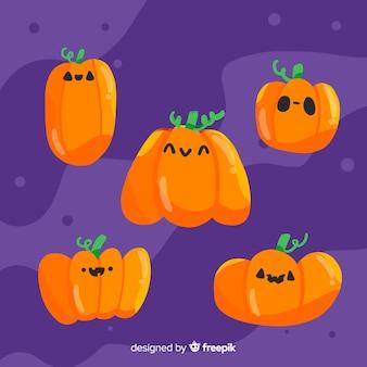 Collection de citrouilles d'halloween plates