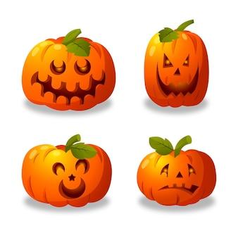 Collection de citrouilles d'halloween réaliste