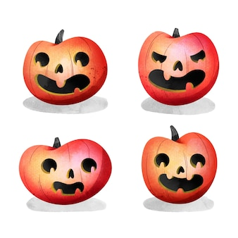 Collection de citrouilles d'halloween de style aquarelle