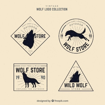Collection classique de logo de loup