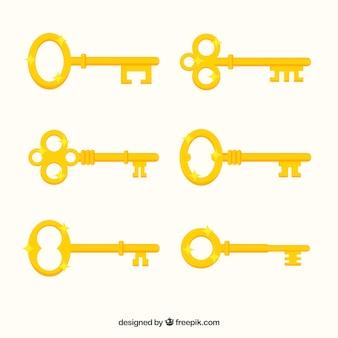 Collection de clés jaunes