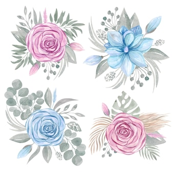 Collection de clipart arrangement de bouquet floral. ensemble de verdure fleur rose magnolia