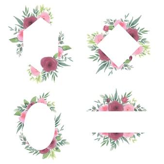 Collection de clipart cadre floral avec des décorations florales aquarelles