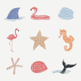 Collection de cliparts nautiques linogravure colorée