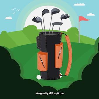 Collection de club de golf en sac noir