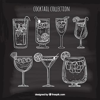 Collection de cocktail dessiné à la main avec un style fragmentaire