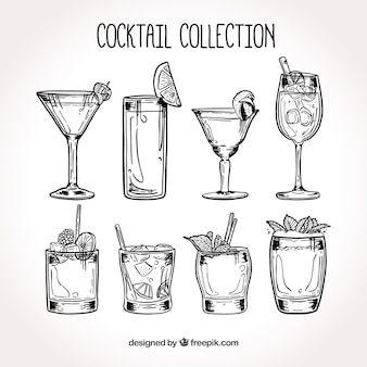 Collection de cocktail dessiné à la main