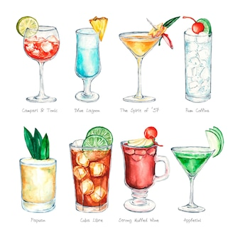 Collection de cocktails aquarelle
