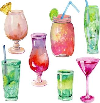 Collection de cocktails aquarelle