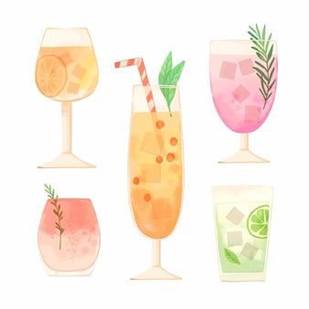 Collection de cocktails aquarelles dans des verres