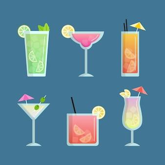Collection de cocktails au design plat