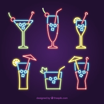 Collection de cocktails au style néon