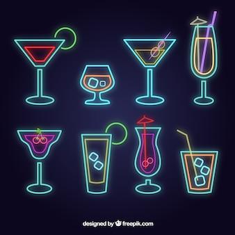 Collection De Cocktails Au Style Néon Vecteur gratuit