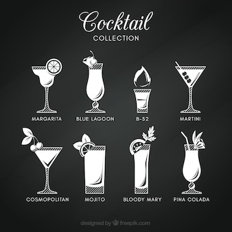 Collection de cocktails au style tableau noir