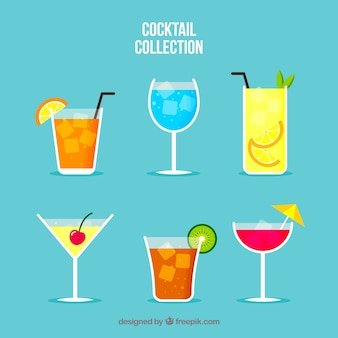 Collection de cocktails colorés avec un design plat