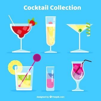 Collection De Cocktails Colorés Avec Un Design Plat Vecteur gratuit
