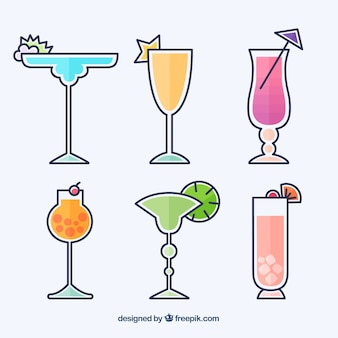 Collection de cocktails colorés avec un design plat