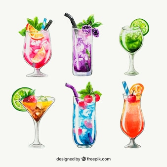Collection de cocktails dans un style aquarelle