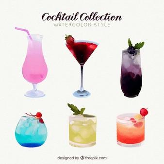 Collection de cocktails dans un style aquarelle