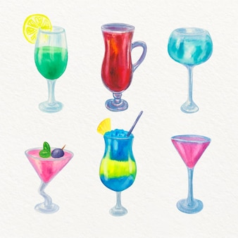 Collection de cocktails design aquarelle