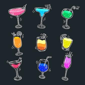 Collection de cocktails design dessinés à la main