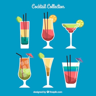 Collection de cocktails avec un design plat