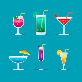 Collection de cocktails design plat
