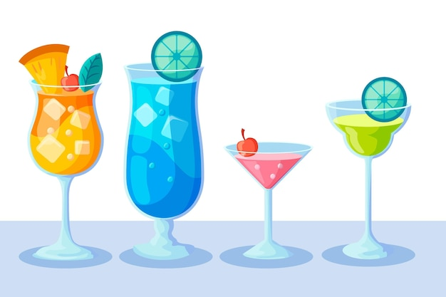 Collection de cocktails design plat