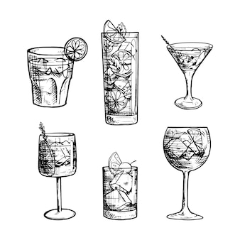 Collection de cocktails dessinés à la main en noir et blanc