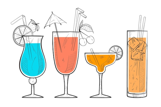Collection de cocktails dessinés à la main