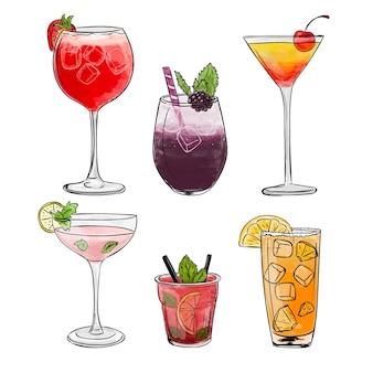 Collection de cocktails dessinés à la main
