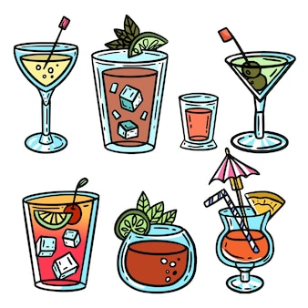 Collection de cocktails dessinés