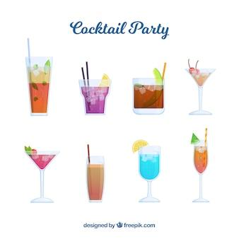 Collection De Cocktails Avec Différentes Liqueurs Vecteur gratuit