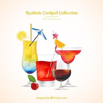Collection de cocktails d'été dans un style réaliste