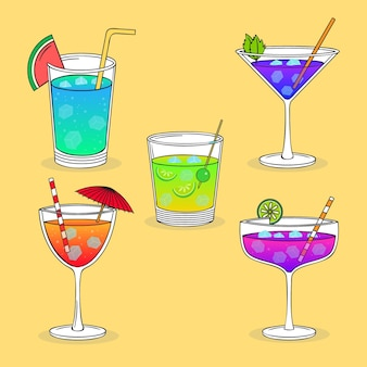 Collection de cocktails d'été dessinés à la main